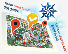 Sunny Beach Map of Renting Apartments and Villas